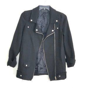 Zara Womens Black Asymmetric Zip Up Jacket Coat HK